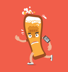 Beer on the run with smartphone health concept vector