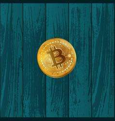 bitcoin coin on wooden texture vector image