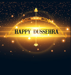 Bow and arrow with golden lights happy dussehra vector