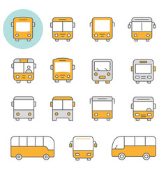 Bus flat line icon set vector