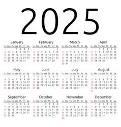 calendar 2025 sunday vector image