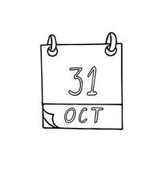 Calendar hand drawn in doodle style october 31 vector