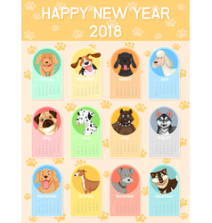 calendar template with many dogs for each month vector image