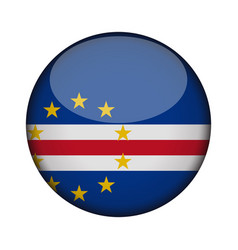 Cape verde flag in glossy round button of icon vector