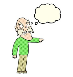 Cartoon furious old man with thought bubble vector