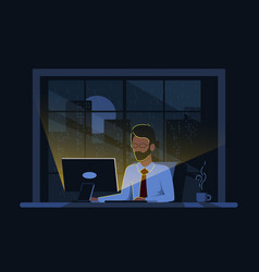 caucasian business man working on computer in the vector image