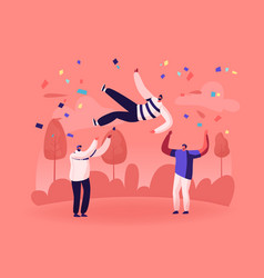 Cheerful business team or good friends tossing in vector