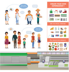clipart collection for supermarket scene vector image