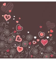 contour hearts on dark background vector image