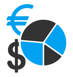 currency pie chart flat icon vector image