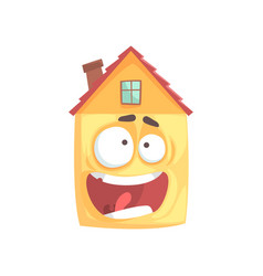 cute frightened house cartoon character funny vector image