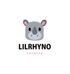 cute little rhino cartoon logo icon vector image