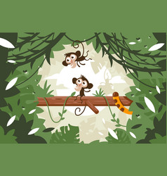 Cute monkeys on tree among vegetation and tail of vector