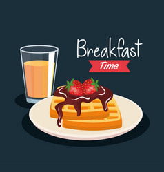 Delicious waffles with strawberries and orange vector