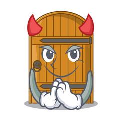 Devil large wooden door with cartoon handle vector