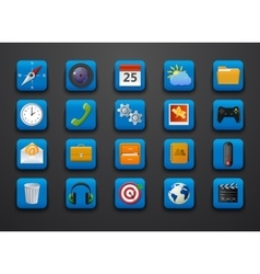 Different symbol icons on blue vector image