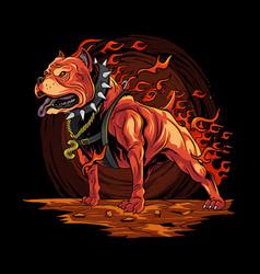 Dog fire pitbull from hell artwork vector