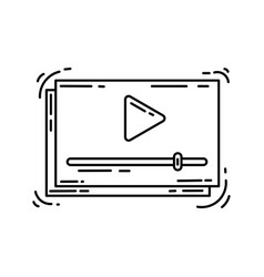 ecommerce icon video hand drawn icon set outline vector image
