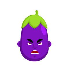 Eggplant angry emotion avatar purple vegetable vector
