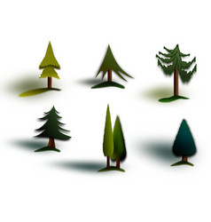 Evergreen trees pack of graphics vector