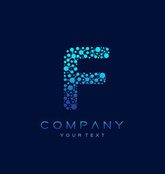 f letter logo science technology connected dots vector image