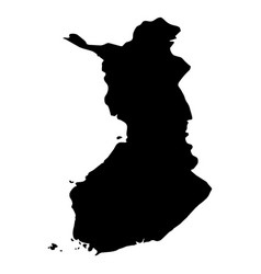 finland - solid black silhouette map of country vector image