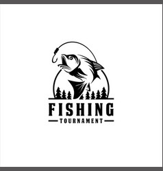fishing tournament design logo collection vector image