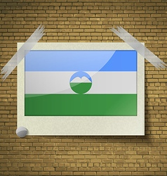 Flags kabardinobalkaria at frame on a brick vector