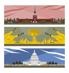 Flat banners cold war vector