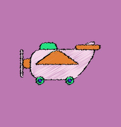 Flat shading style icon retro plane toy vector