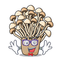 geek enoki mushroom character cartoon vector image