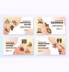 georgia color linear icon set georgian culture vector image