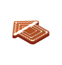 gingerbread cookie form of house christmas holiday vector image