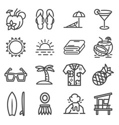 gray tropical summer hawaii icon set vector image