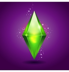 Green magic crystal on purple background vector image
