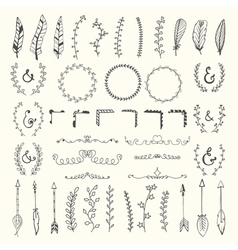 Hand drawn vintage floral elements Weddings vector