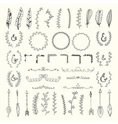 hand drawn vintage floral elements weddings vector image
