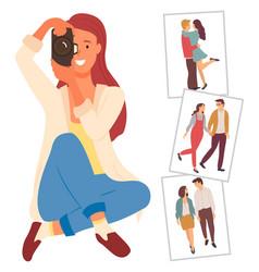 Happy female photographer enjoying interesting job vector