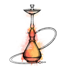 Hookah with hatching and warm orange and yellow vector