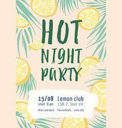 Hot night party flat poster template vector
