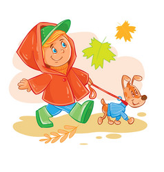 Icon of small boy walks with his puppy vector