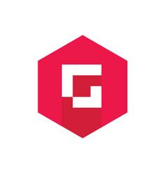 initial letter g logo red hexagonal symbol vector image