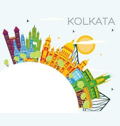 Kolkata india skyline with color buildings blue vector
