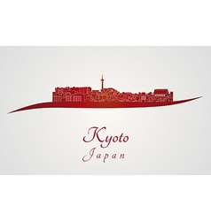 Kyoto skyline in red vector