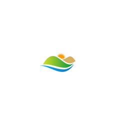 Landscape hill sun nature logo vector