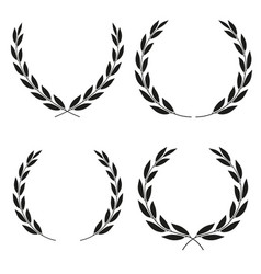 Laurel wreaths icons of different shapes vector