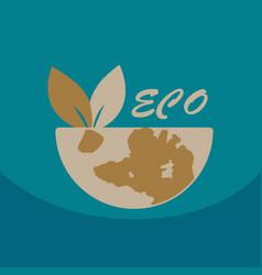 leaf in hand logo organic life symbol eco planet vector image
