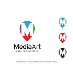 letter m logo template design vector image