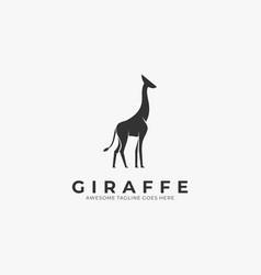 logo elegant giraffe silhouette vector image