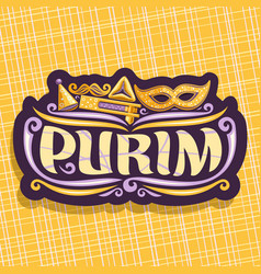 Logo for purim holiday vector